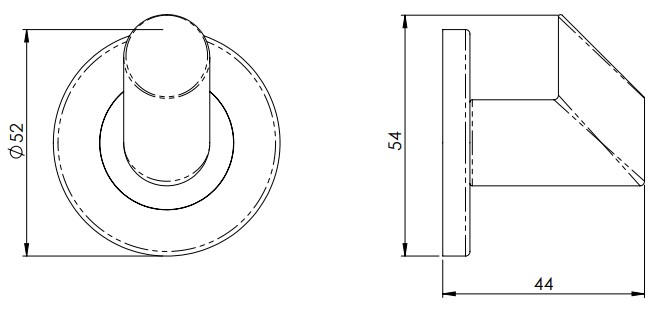 Angled-Face-Robe-Hook-Concealed-Fix-Roses-52mm-Diameter-Diagram