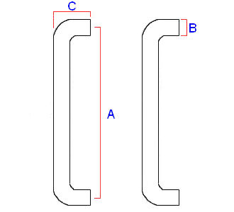 Diagram showing dimensions a D shape pull handle