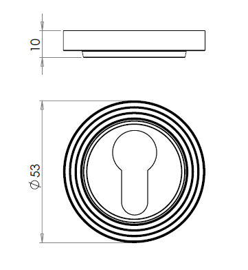 Euro-Profile-Escutcheon-With-Reeded-Pattern-Rose-Dimensions-Diagram