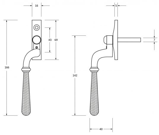 Newbury-Cranked-Hammered-Pattern-Locking-Espagnolette-Handle-Window-Fastener-Diagram