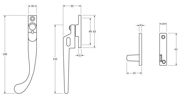 Peardrop-Pattern-Locking-Night-Vent-Handle-Window-Fastener-Left-&-Right-Hand-Diagram
