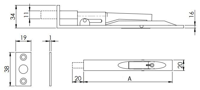 Lever Action Flush Bolt For Double Doors - Diagram