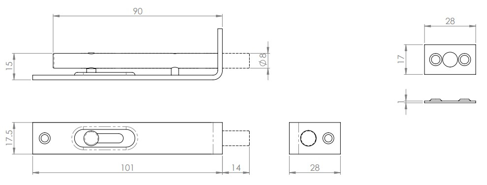 Small Flush Bolt - Slide Pattern - Diagram