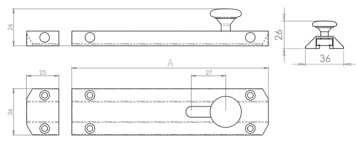 Surface Mounted Slide Bolts - Architectural Range - Diagram