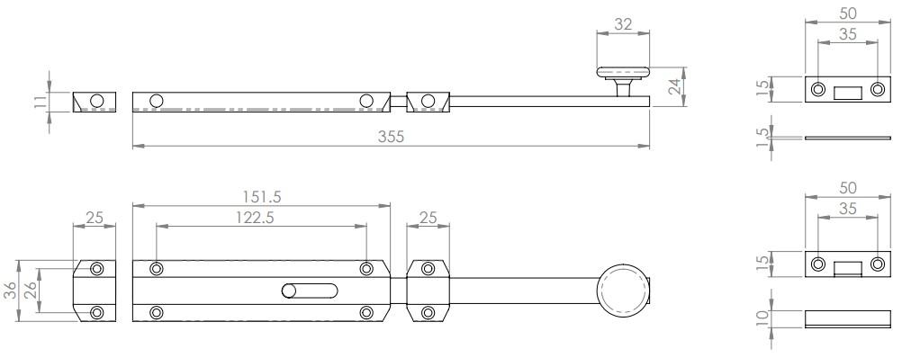 Surface Mounted Slide Bolts - Extended Design - Architectural Range - Diagram