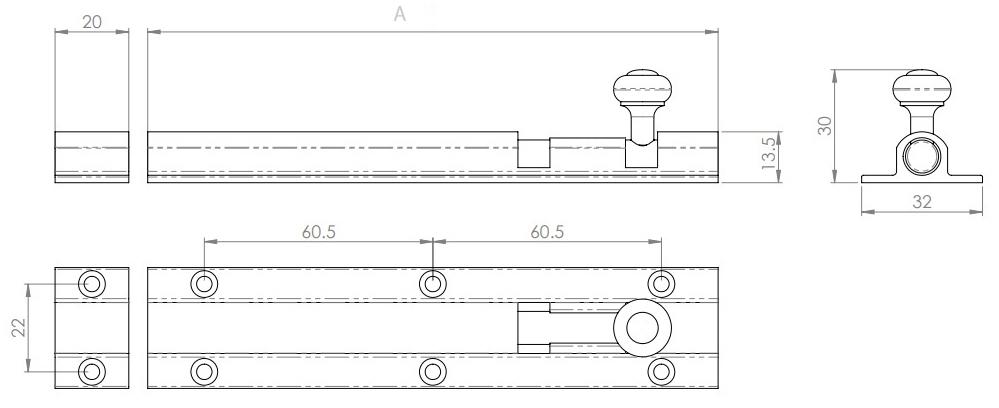 Traditional Ringed Pattern Barrel Bolt - Diagram