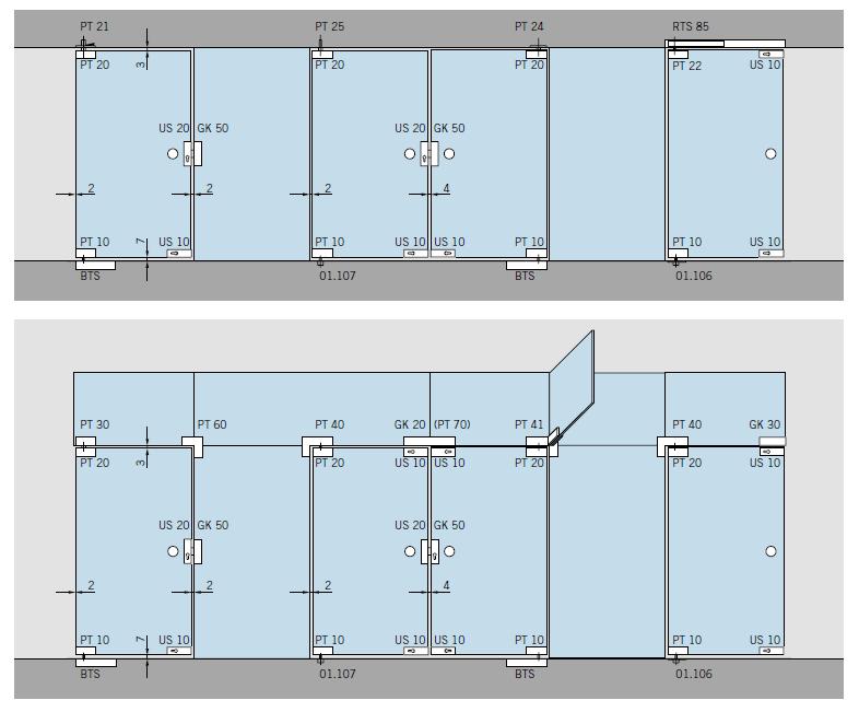 Dorma Mundus Glass Door Patch Fittings - Typical Door Types - Component Pieces