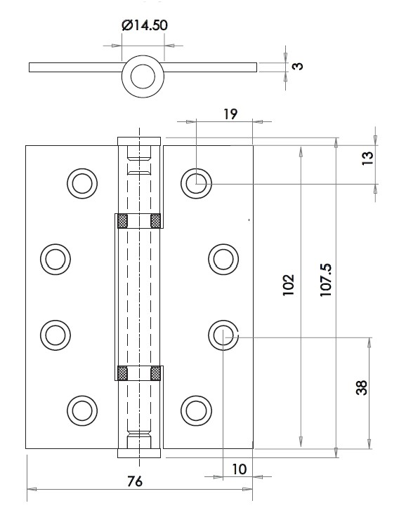 Grade 13 Polymer Bearing Hinges - Dimensions Diagram